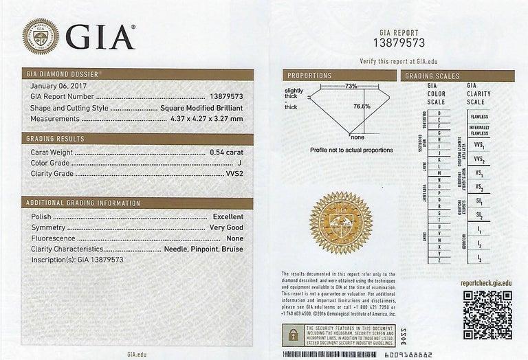 GIA Certified 2.57 Carat Princess Cut Diamond Five-Stone Platinum Ring For Sale 3