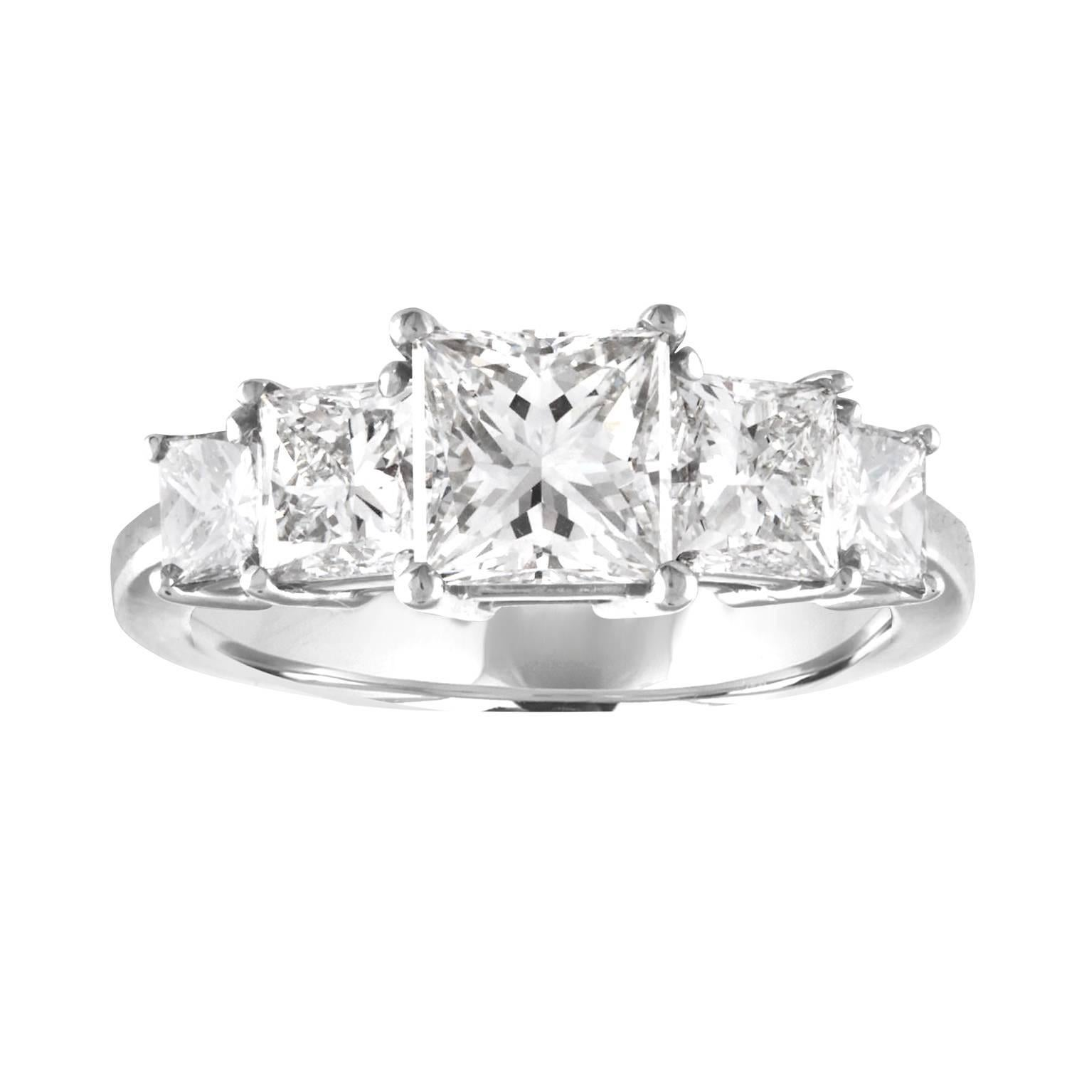 GIA Certified 2.57 Carat Princess Cut Diamond Five-Stone Platinum Ring