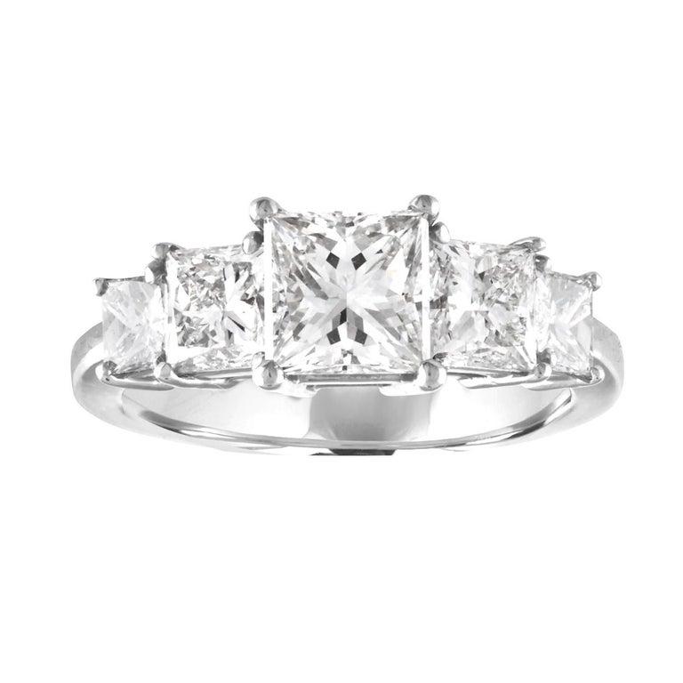 GIA Certified 2.57 Carat Princess Cut Diamond Five-Stone Platinum Ring