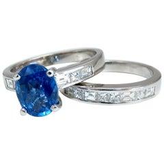 GIA Certified 2.58 Carat Natural No Heat Sapphire Diamond Ring Unheated Platinum