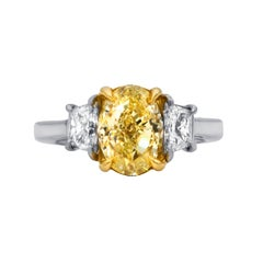 GIA Certified 2.58 Carat Fancy Yellow-VS1 Oval Engagement Ring