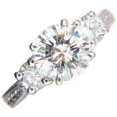 GIA Certified 2.58ct natural round diamond ring engagement classic three plat