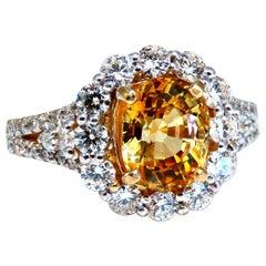 GIA Certified 2.59 Carat Natural Yellow Natural Sapphire Diamonds Ring 14 Karat