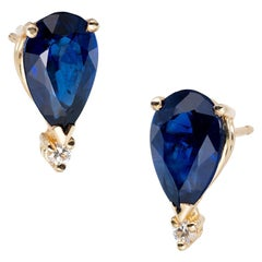 GIA Certified 2.6 Carat Blue Sapphire Diamond Yellow Gold Earrings