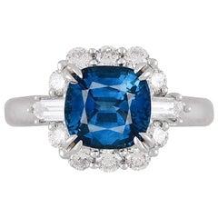 GIA Certified 2.60 Carat Cushion Cut Blue Sapphire Halo Ring