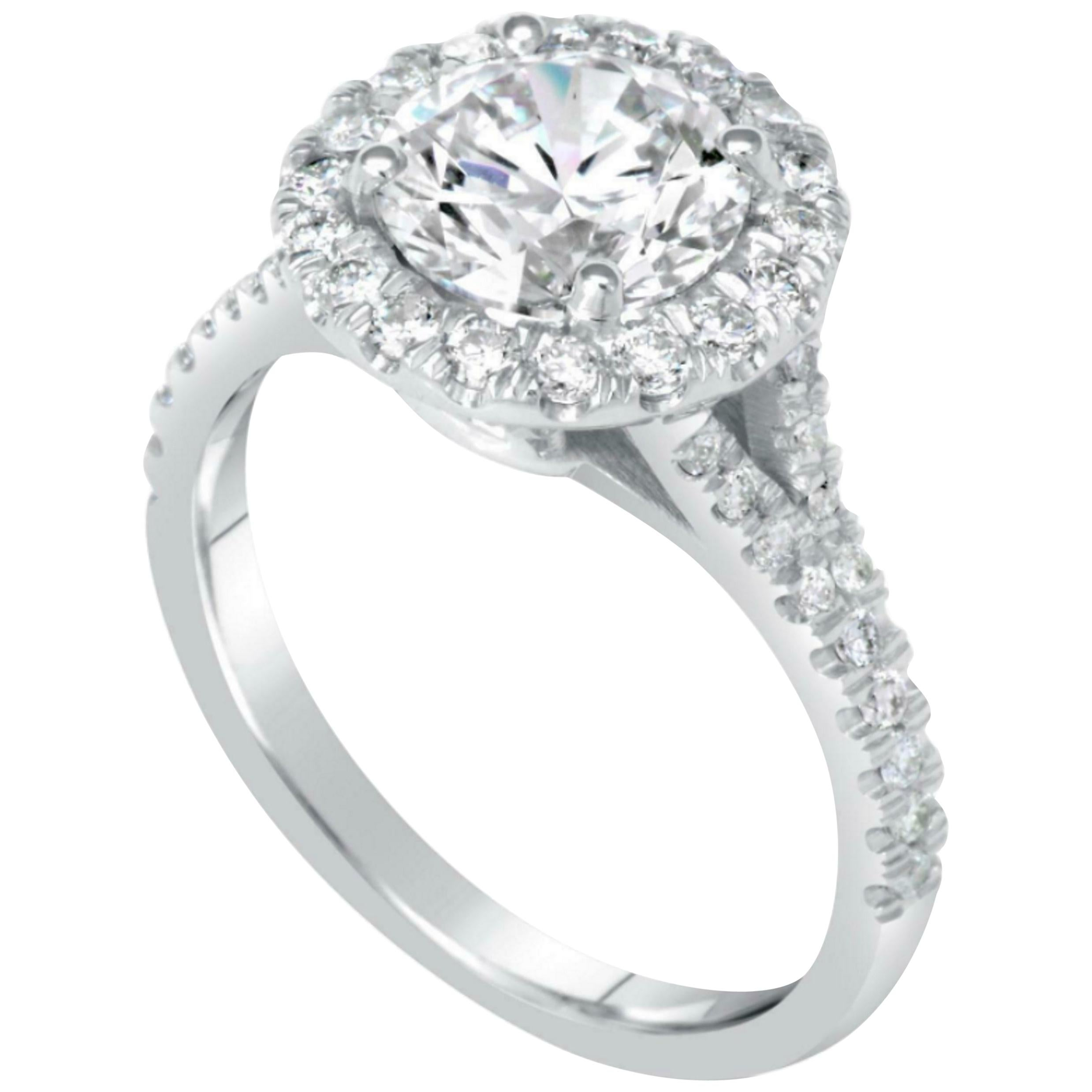 GIA Certified 2.60 Carat Triple Excellent Cut Diamond Platinum Ring