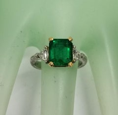 "GIA Certified 2.60cts. Emerald cut Emerald ""Tacori"" Platinum diamond Ring"