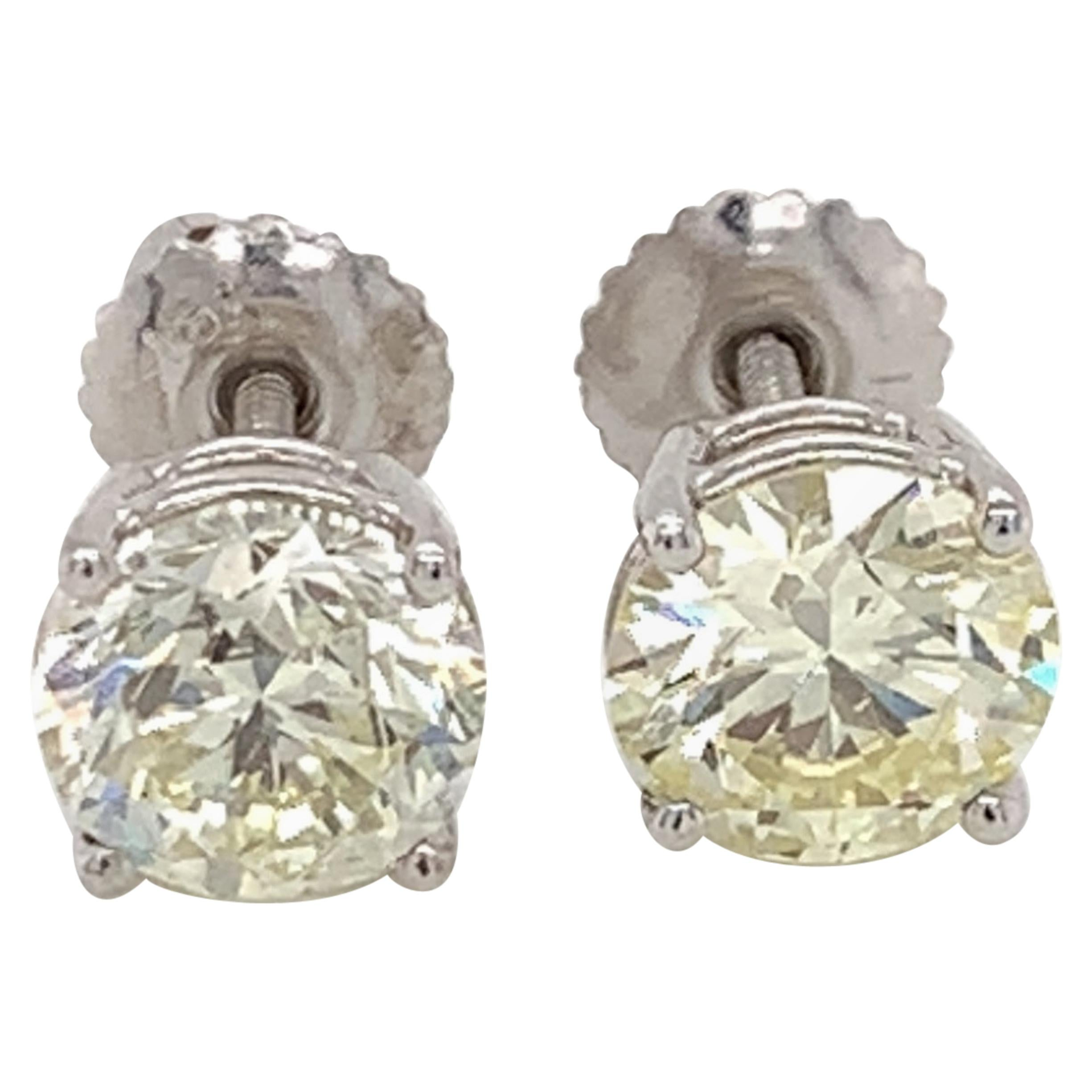 GIA Certified 2.61 Carat Diamond Stud Earrings