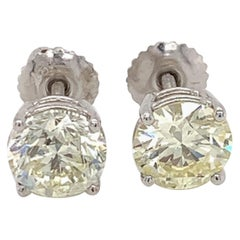 GIA Certified 2.61 Carat Diamond Stud Earrings