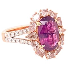 GIA Certified 2.61 Carat Kashmir Sapphire and Pink Diamond Ring
