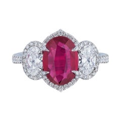 GIA Certified 2.61 Carat Unheated Ruby and Oval Diamond Ring