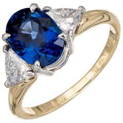 GIA Certified 2.62 Carat Blue Sapphire Diamond Yellow Gold Engagement Ring
