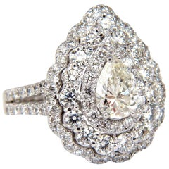 GIA Certified 2.62 Carat Pear Shape Diamond Ballerina Ring 14k Cluster H/Vs1