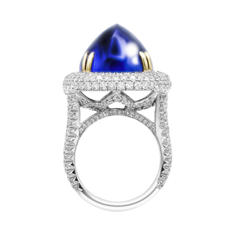 GIA Certified 26.37 Carat Oval Tanzanite Cabochon Diamond Cocktail Ring Crafted in 18K White Gold & 18K Yellow Gold prongs  Size 6 (can be sized)  A Exceptional Handmade Statement piece, 18k White Gold High-Domed ,