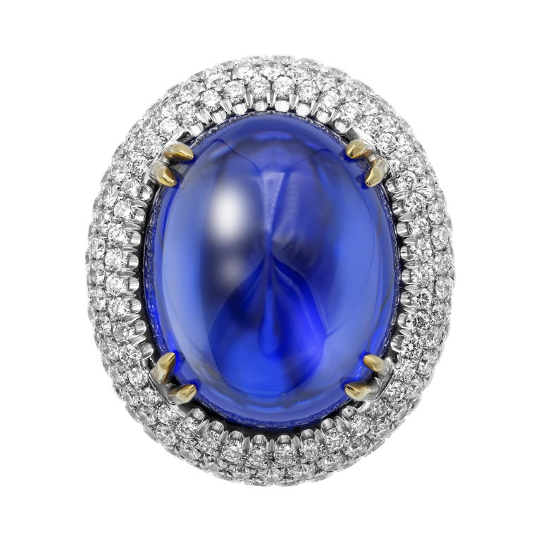 Baroque GIA Certified 26.37 Carat Oval Tanzanite Cabochon Diamond Cocktail Ring For Sale
