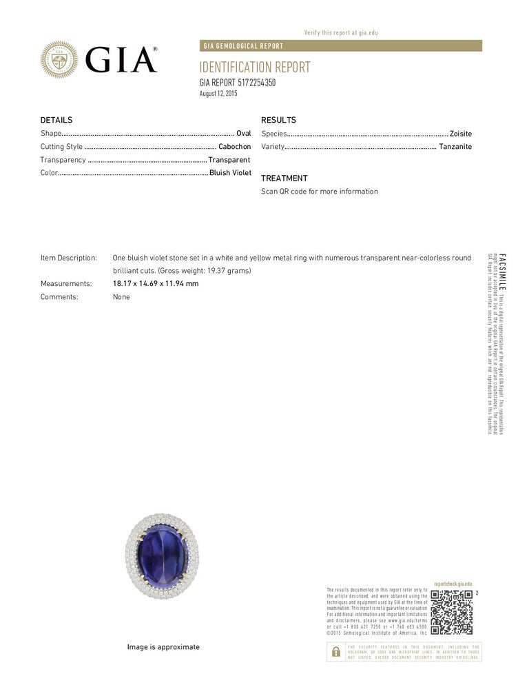 Sugarloaf Cabochon GIA Certified 26.37 Carat Oval Tanzanite Cabochon Diamond Cocktail Ring For Sale