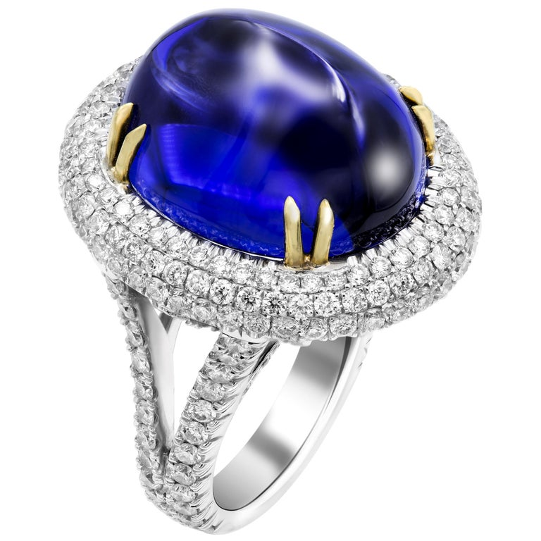 GIA Certified 26.37 Carat Oval Tanzanite Cabochon Diamond Cocktail Ring For Sale