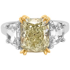 GIA Certified 2.64 Carat Fancy Light Yellow Diamond Ring