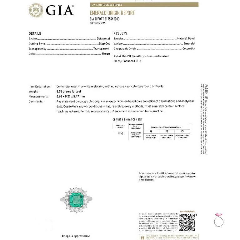 GIA Certified 2.64 ct. Fine Colombian Emerald & Diamond Platinum Ring In Excellent Condition For Sale In Honolulu, HI