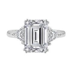 GIA Certified 2.65 Carat Emerald Cut Diamond Ring E Color VS1 Clarity