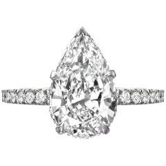 GIA Certified 2.65 Carat Pear Shaped Diamond Engagement Ring