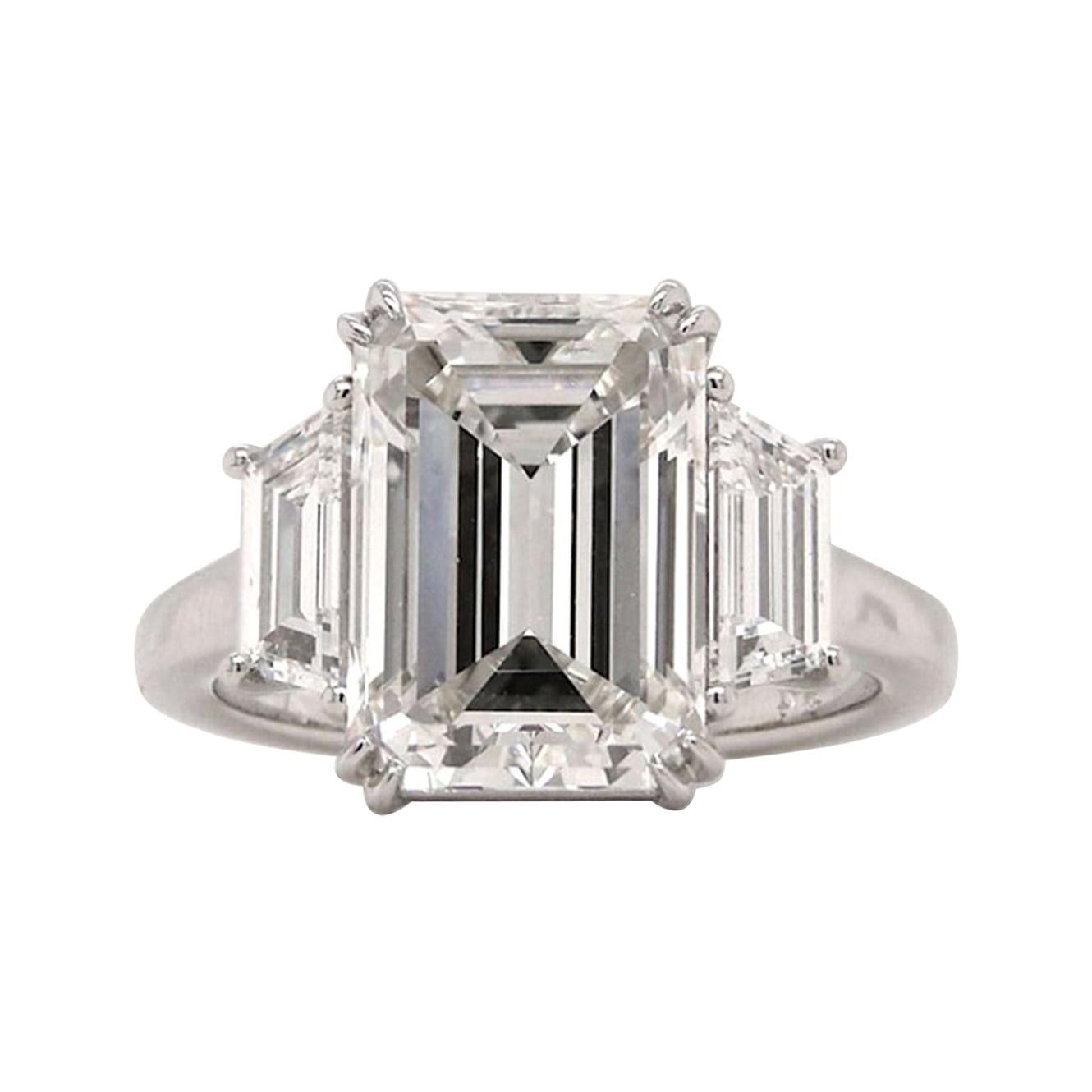 GIA Certified 3 Carat Excellent Cut Emerald Cut Diamond Platinum Ring