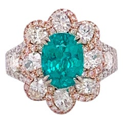 GIA Certified 2.67 Carat Paraiba Tourmaline and Diamonds Ring