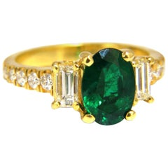 GIA Certified 2.68 Carat Natural Emerald Diamonds Ring 18 Karat