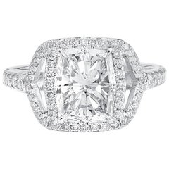 GIA Certified 2.68 Carat Natural White Diamond Engagement Wedding Ring