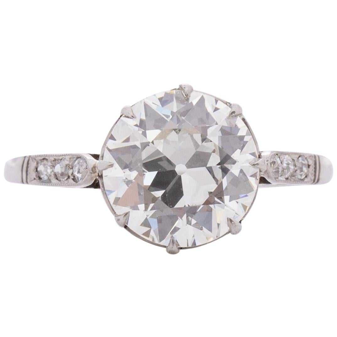 GIA Certified 2.69 Carat Art Deco Diamond Platinum Engagement Ring