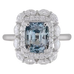 DiamondTown GIA Certified 2.69 Carat Cushion Cut Gray-Blue Montana Sapphire Ring