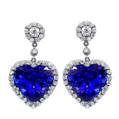 GIA Certified 27 Carat Tanzanite and Diamond Earrings