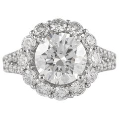 GIA Certified 2.70 Carat Round Cut Diamond with Halo Ring 18 Karat White Gold