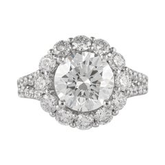 GIA Certified 2.70 Carat Round Cut Diamond with Halo Ring 18 Karat White Gold