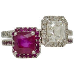 2.70 Carat Ruby And White Diamond Twin Cocktail Ring In 18K Gold.
