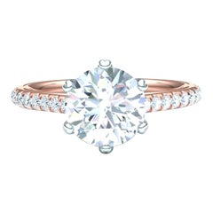GIA Certified 2.70 Carat Total Weigh Round Cut I-SI2 Engagement Diamond Ring