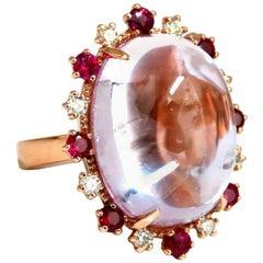 GIA Certified 27.13 Carat Natural Pink Kunzite Ruby Diamonds Ring 14 Karat Gold