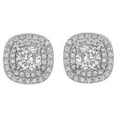 GIA Certified 2.72 Carat 18K White Gold Cushion Cut Diamond Double Halo Earrings
