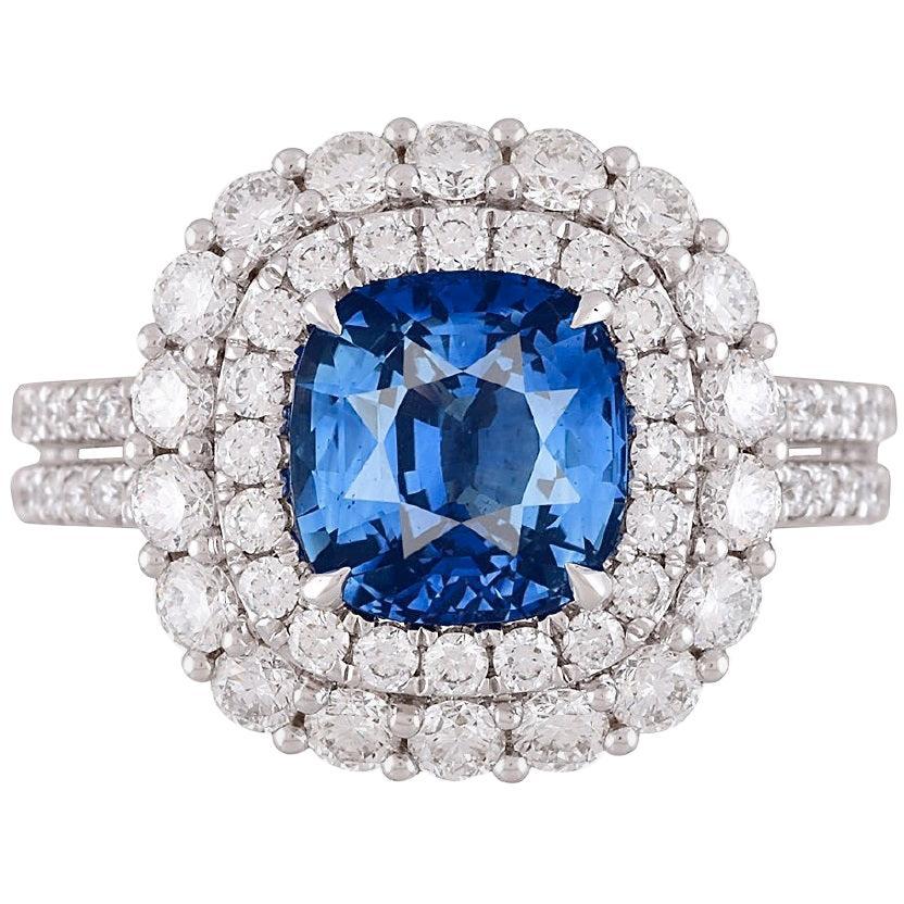 DiamondTown GIA Certified 2.72 Carat Ceylon Sapphire and Diamond Ring