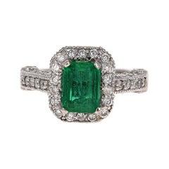 GIA Certified 2.72 Carat Emerald Diamond 14 Karat White Gold Bridal Ring