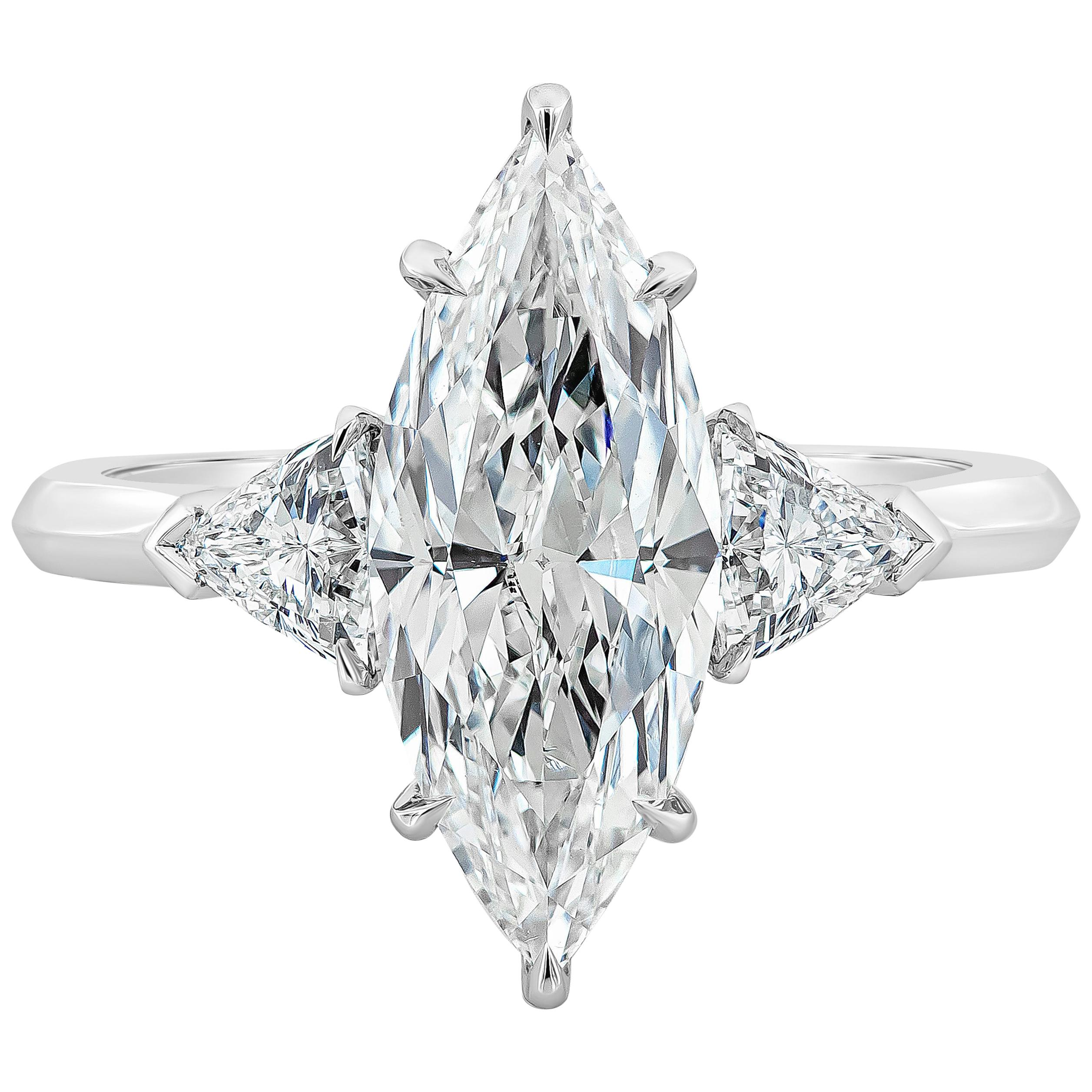 GIA Certified 2.72 Carat Marquise Diamond Three-Stone Engagement Ring