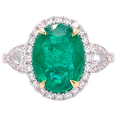 GIA Certified 2.72 Carat Oval Emerald and Diamond Ring