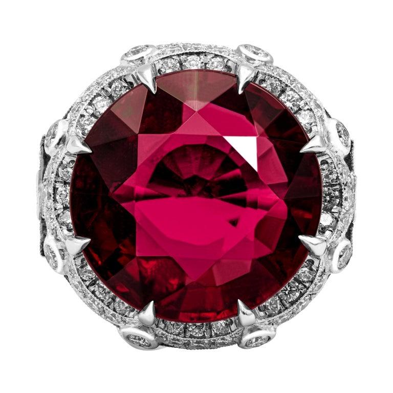 Art Deco GIA Certified 27.25 Carat Round Red Rubellite Tourmaline Diamond Ring For Sale