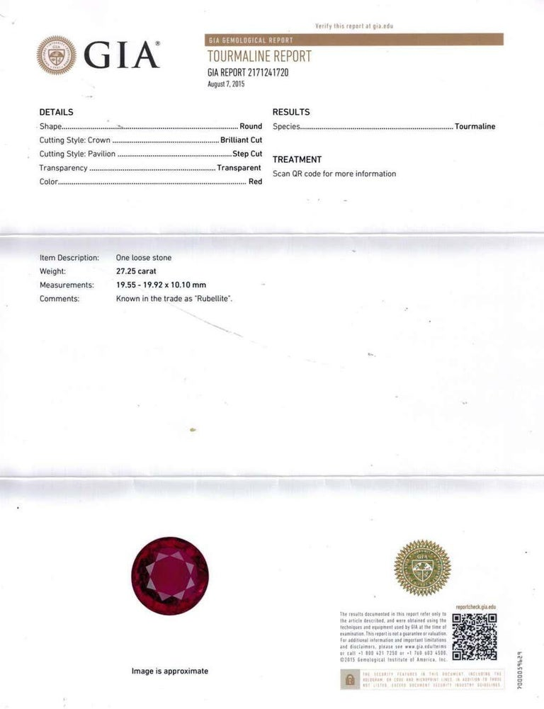 Round Cut GIA Certified 27.25 Carat Round Red Rubellite Tourmaline Diamond Ring For Sale