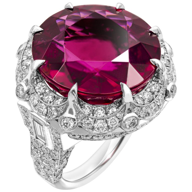 GIA Certified 27.25 Carat Round Red Rubellite Tourmaline Diamond Ring For Sale
