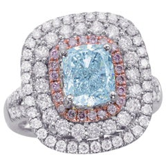 GIA Certified 2.73 Carat Natural Fancy Light Blue and Pink Diamonds Ring
