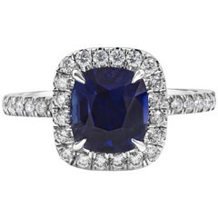GIA Certified 2.75 Carat No Heat Blue Sapphire and Diamond Halo Engagement Ring