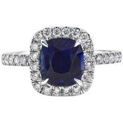 Roman Malakov GIA Certified No Heat Blue Sapphire & Diamond Halo Engagement Ring