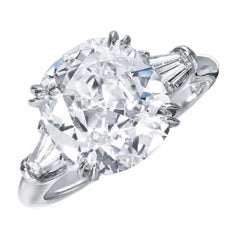 I FLAWLESS 3 Carat Cushion Cut Diamond Platinum Solitaire Ring