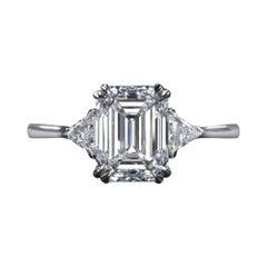 GIA Certified 2.75 Carat Emerald Cut Diamond Ring E Color VS1 Clarity